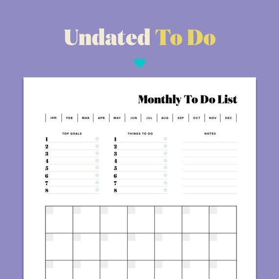Undated Monthly Calendar To Do List Personal Task Etsy