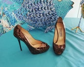 Pumps open toe Jimmy Choo leather varnish panther pattern
