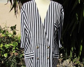 21519eac33e22 Blouse synthétique vintage à rayures noir et blanc 42/ 44FR