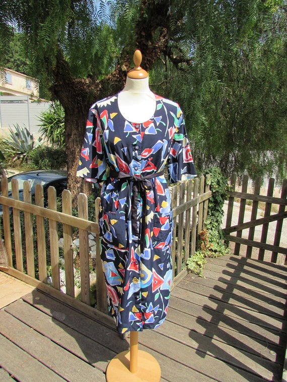 Vintage 80's dress Frialaine Brussels, abstract pa