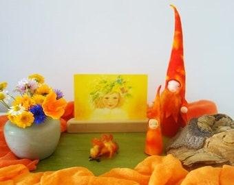 Anthroposophical Gnome - Season Table Autumn Gnome - Waldorf Nature table - Waldorf inspired - Waldorf Felt gnome - Eco friendly-