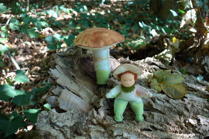 Anthroposophical mushroom  Mushroom with gnome Waldorf image 0