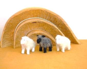 Anthropoophic sheep on the season table - Waldorf Nature table - Sheep for the nativity scene - Felt sheep - Wool felt sheep -