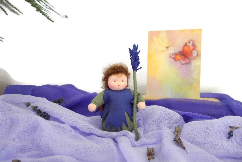 Lavender doll of Felt-Waldorf inspired-sustainable season image 0