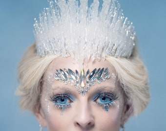 Jewelled Ice Queen Crown Headdress, Ice Queen Headdress, Ice Queen Crown, Icicle Crown, Ice Crown, Frozen Crown, Ice King Crown, Ice King