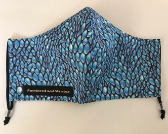 Dragon Scales Washable 100% Cotton Face Covering/Face Mask/Face Protection - 2 layer mask,nose wire,filter pocket.Made in UK