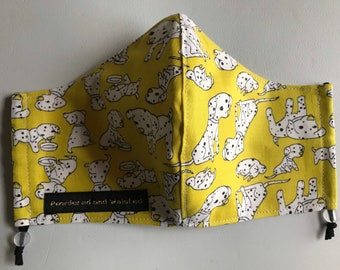 Lemon Dalmatian Lovers Washable Cotton Face Covering/Face Mask/Face Protection-3 layer, filter pocket, nose wire. Made in U.K.