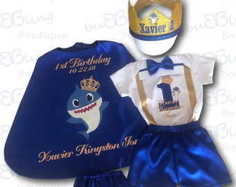 Personalized Baby Shark First Birthday Outfit Boy || Prince 1st birthday costume || Cake smash outfit || Birthday Prince || Prince Cape