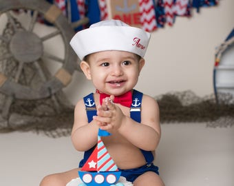 Cake Smash Outfit, Personalised Sailor, Boys 1st Birthday Outfit, Baby Boy First Birthday Outfit, Cake Smash Outfit Boy, Photoshoot Props