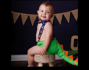 Dinosaur Tail photo prop cake smash outfit for boys with bow tie and suspenders