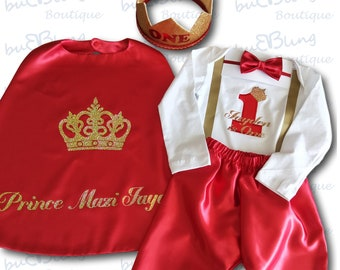 First Birthday Winter Outfit Boy - Red Long Sleeve 1st Birthday Outfit