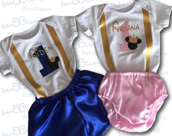 1st Birthday Outfit Twins, Mickey Twins Cake Smash outfits
