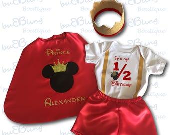 Half Birthday Mickey Prince Baby boy outfit
