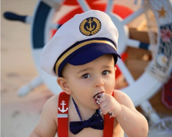 baby ship  captain Red white and blue Baby boy 1st Birthday Outfit Cake Smash Outfit Baby photo shoot outfit baby ship  captain nautical