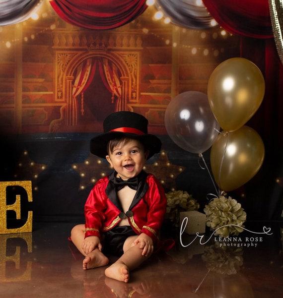 circus theme Baby Boys 1st Birthday Cake Smash Outfit Handmade photo.