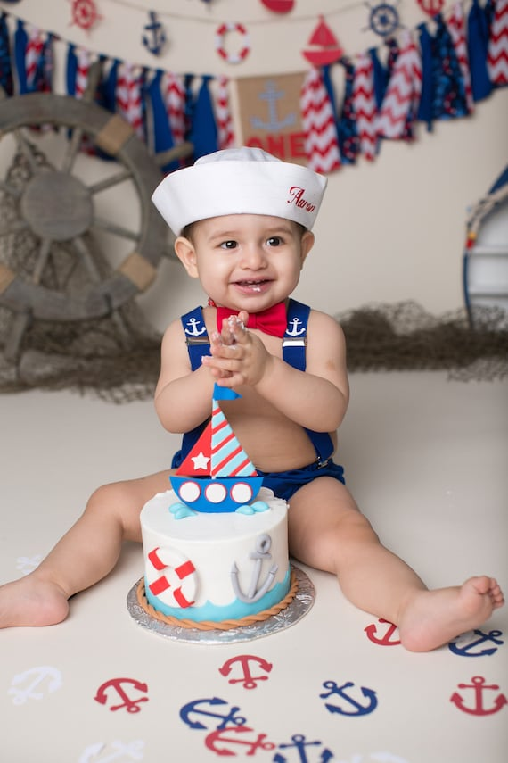 Cake Smash Outfit Personalised Sailor Boys 1st Birthday Etsy