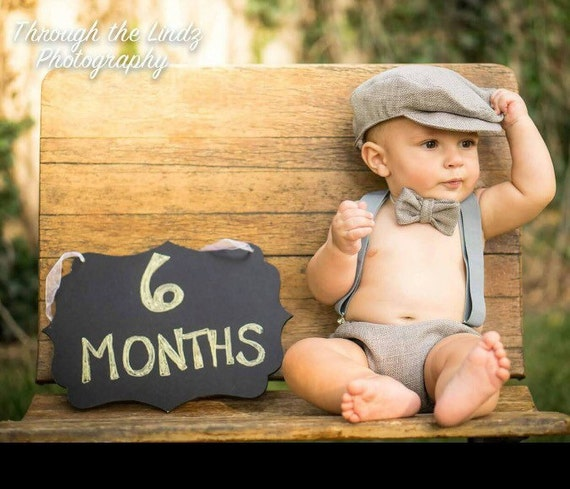 Grey 6 Month Baby Boy Birthday Outfit