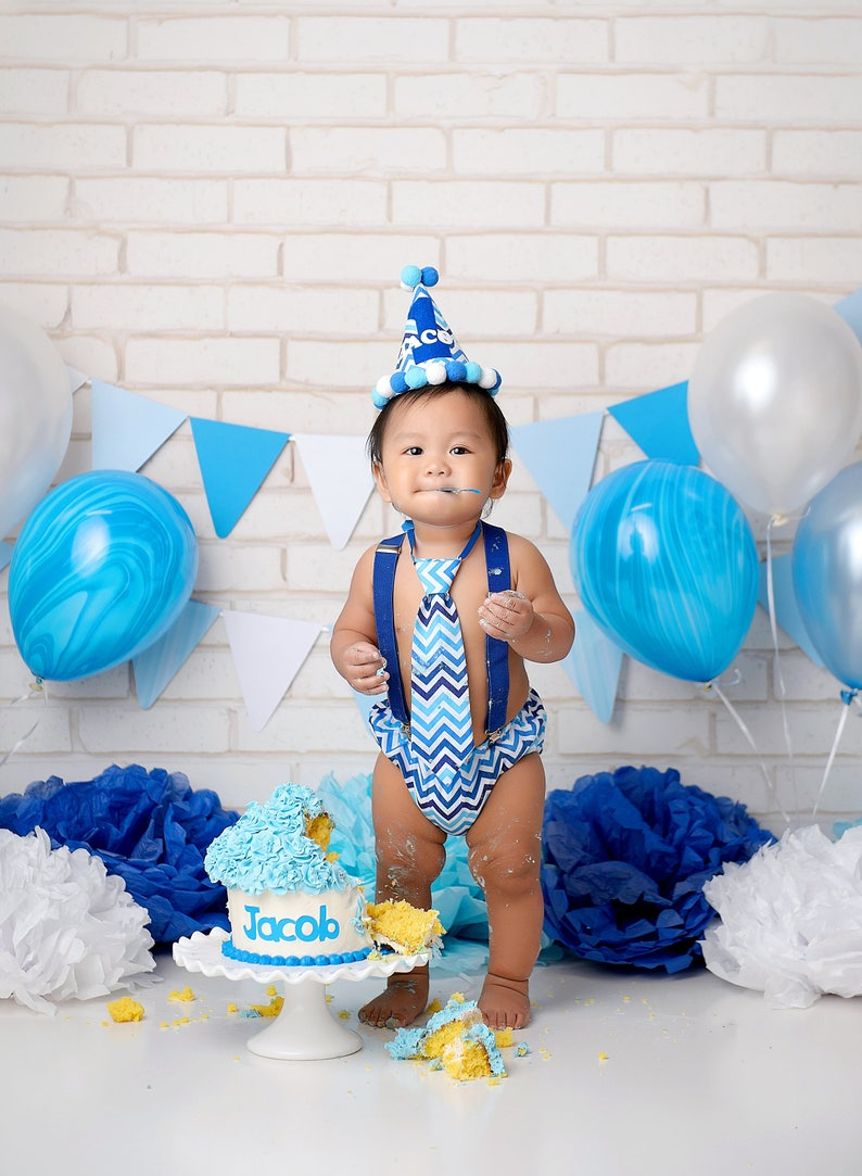 Cake Smash Outfit Blue And White Chevron Baby Boy 1st