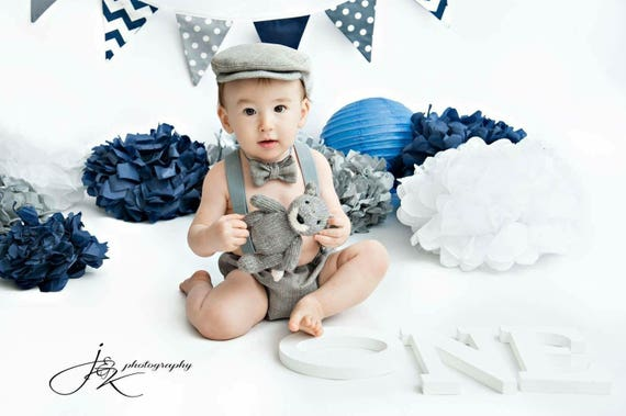 Grey Smash Cake Outfit Boy 1st