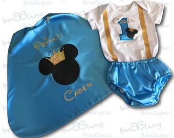 Aqua Gold Mickey Cape | Baby Boy 1st Birthday Mickey Prince Outfit