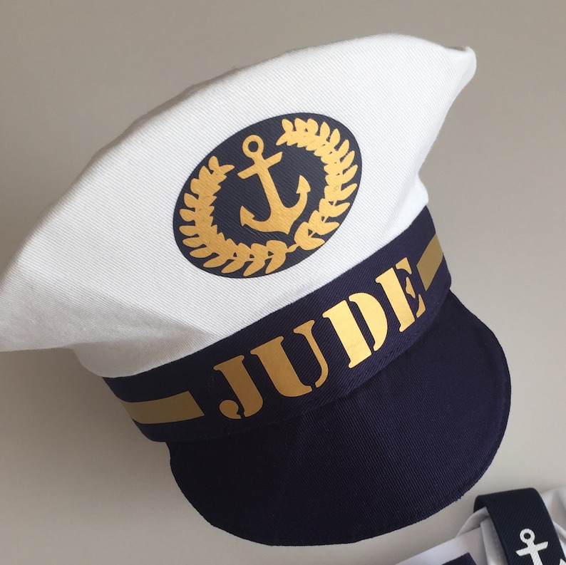 f987c621d5 Personalised Baby ship captain hat Nautical theme