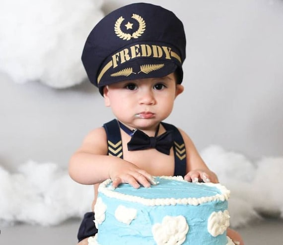 Baby Boy 1st Birthday Outfit.Personalised Pilot Captain Baby Boy 1st Birthday Outfit