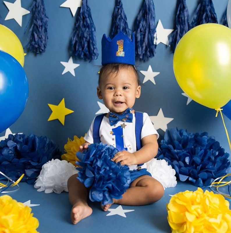 6bce9dfca Blue and Gold Star 1st Birthday Outfit Boy   Etsy