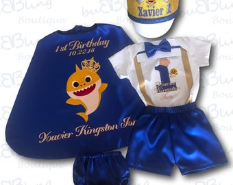 Personalized Yellow Baby Shark First Birthday Outfit Boy || Prince 1st birthday costume || Cake smash outfit || Birthday Prince