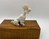 White Poodle with red tongue porcelain or ceramic figure