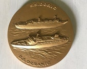 SS Doric and SS Oceanic Home Lines token or paperweight