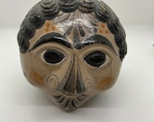 Vintage Mexican Tonala Pottery Face from 1960s - signed by gift giver in 1966
