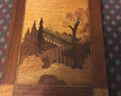 vintage marquetry unknown maker Mountains, trees and scenery