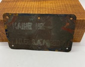 vintage trailer tag from Maine 1941 old brass metal