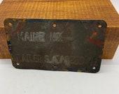 trailer tag, Maine car trailer, 1941 brass metal tag