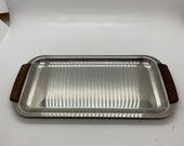 Tray, Food Tray, Danish stainless steel and teak tray, mid-century modern, Scandinavian Tray
