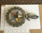 Eastern Star trivet with 4 legs and bright painted star