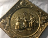 Vintage English Metal Wall art - copper or brass over metal wire