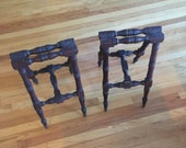 Coffin stands - victorian era wooden coffin stands with brass feet