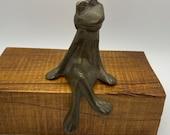 Brass Frog, Vintage Frog Statue, Kermits friend and buddy, shelf sitter