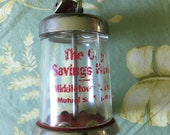 The City savings bank - glass and metal locking bank