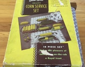 Corn on the cob service set in 60s plastic
