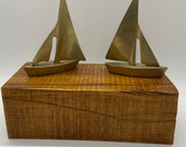 Vintage Brass Pair of Sailboats. Great Patina Great look