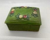lidded box, ceramic, cigarette box, vintage green