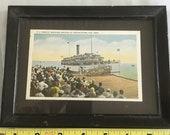 Postcard, vintage postcard ferry to p-town dock, vintage people