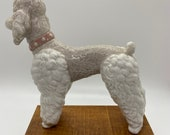 Dog, Poodle statue, Lladro White Poodle with pink collar, porcelain figure, ceramic figure, marked Lladro