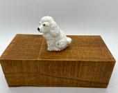 Dog, White Dog statue, porcelain figure, ceramic figure - Label on bottom