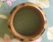 Bracelet of wood, leopard skin, paint spots, glam wood