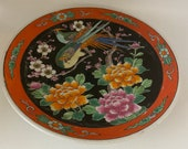 plate, orient, hand painted, exotic birds, flowers and cherry blossoms