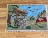 Tapestry, Homemade rug, Vintage tapestry, wishing-well, Barn and Meadow scene