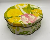 Tin, Printed Tin, Vintage tin, floral pattern, Avon calling